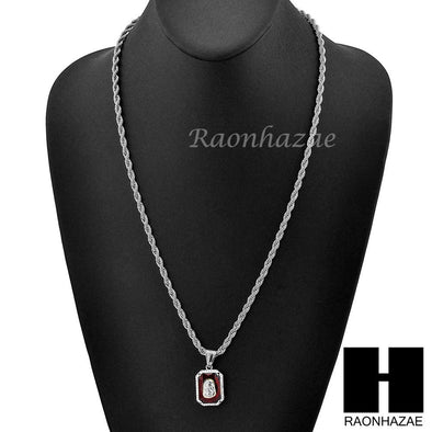 "STAINLESS STEEL ICED OUT RUBY JESUS FACE PENDANT 24"" ROPE CHAIN NECKLACE NP024 - Raonhazae"
