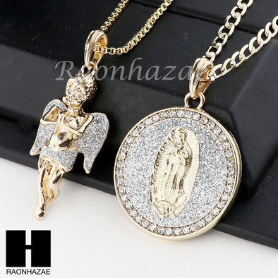 ICED OUT ANGEL & GUADALUPE ROUND PENDANT BOX CUBAN CHAIN DOUBLE NECKLACE SET SD3 - Raonhazae
