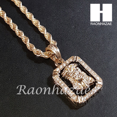 "New 14k Gold PT Jesus Pendant 15mm Miami Cuban 30"" Necklace SET S200 - Raonhazae"