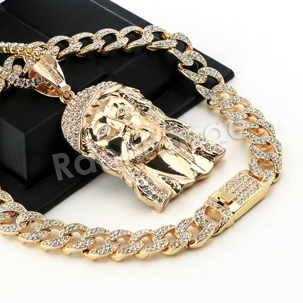 Hip Hop Quavo Jesus Face Miami Cuban Choker Tennis Chain Necklace L16 - Raonhazae