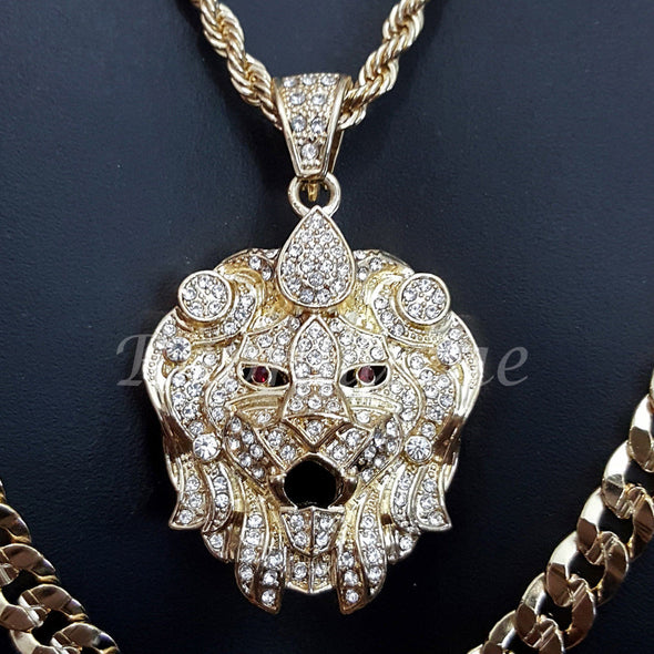 "CROWN BEAST CHARM ROPE CHAIN DIAMOND CUT 30"" CUBAN CHAIN NECKLACE SET 6 - Raonhazae"