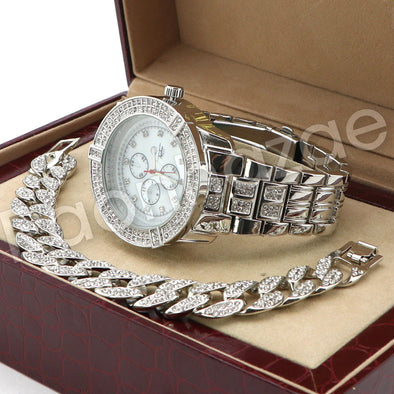 Hip Hop 14K White Gold PT Savage Watch Cuban Chain Bracelet Set F43S - Raonhazae