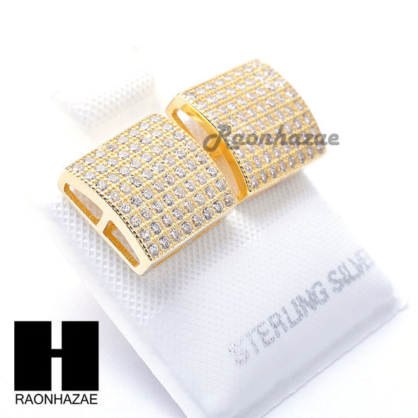 Iced Out Sterling Silver .925 Lab Diamond 10mm Square Screw Back Earring SE032G - Raonhazae
