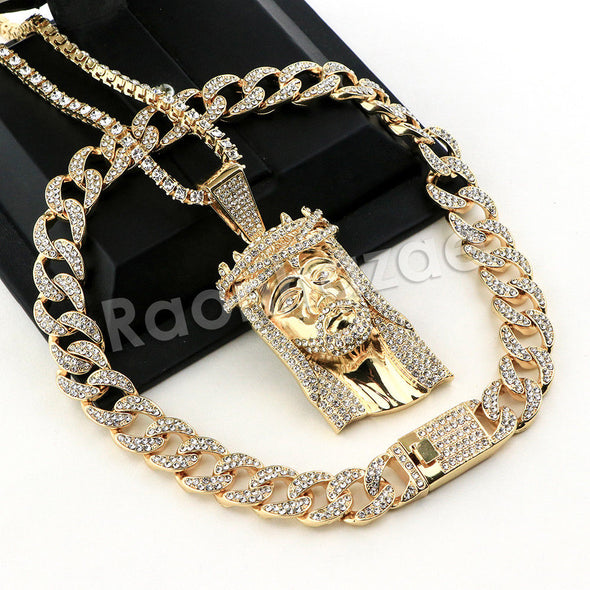 Hip Hop Quavo Jesus Face Miami Cuban Choker Tennis Chain Necklace L36 - Raonhazae