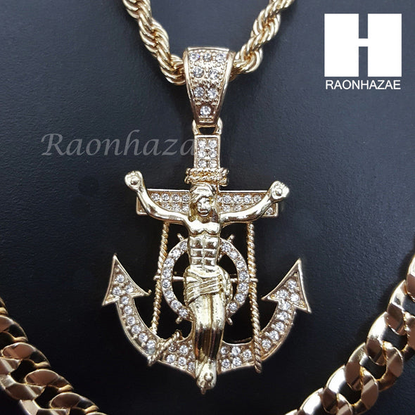 "MEN ANCHOR JESUS ROPE CHAIN DIAMOND CUT 30"" CUBAN CHAIN NECKLACE SET G1 - Raonhazae"