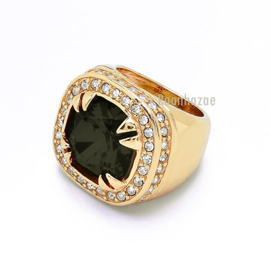 NEW MEN S BIG CHUNKY GOLD PLATED ICED OUT RICH GANG JET BLACK RING