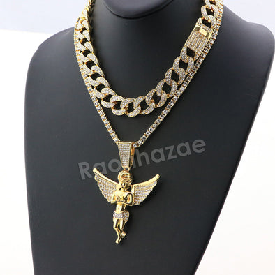 Hip Hop Quavo Angel Miami Cuban Choker Tennis Chain Necklace L14 - Raonhazae