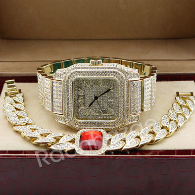 Hip Hop 14K Gold Simulated Diamond Watch Ruby Cuban Bracelet Set F46 - Raonhazae