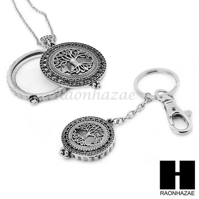 Silver 5X Magnifying Glass Tree of Life Key Chain Pendant Chain Necklace Set S4S - Raonhazae