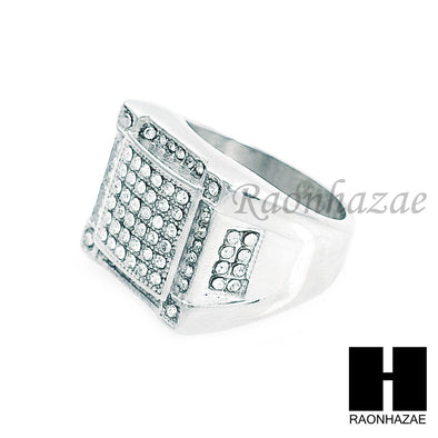 MEN ICED OUT RING 316L STAINLESS STEEL WHITE GOLD CZ BLING RING SIZE 8-12 SR011S - Raonhazae