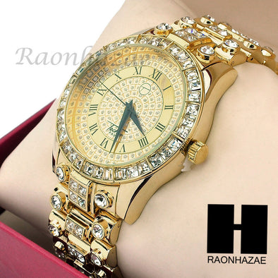 Men Techno Pave Lil Wayne Hip Hop Lab Diamond14K Gold Iced Out Watch 197GD - Raonhazae