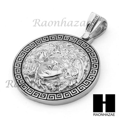 "Hip Hop White Gold Plated Medusa medallion Pendant 30"" Cuban Link Chain - Raonhazae"
