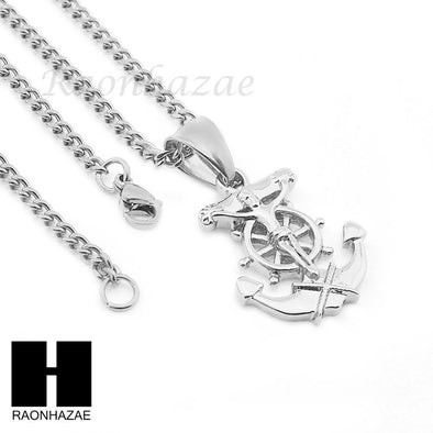 "MENS STAINLESS STEEL BOAT ANCHOR JESUS CROSS PENDANT 24"" CUBAN NECKLACE NP008 - Raonhazae"