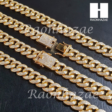 "18K Gold Lab Diamond Cuban Link Chain 16mm Bling 24"" 30"" Necklace L01 - Raonhazae"