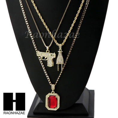 "ICED OUT RUBY HANDGUN PLUG PENDANT 24"" 30"" ROPE BOX CUBAN CHAIN NECKLACE SET S02 - Raonhazae"