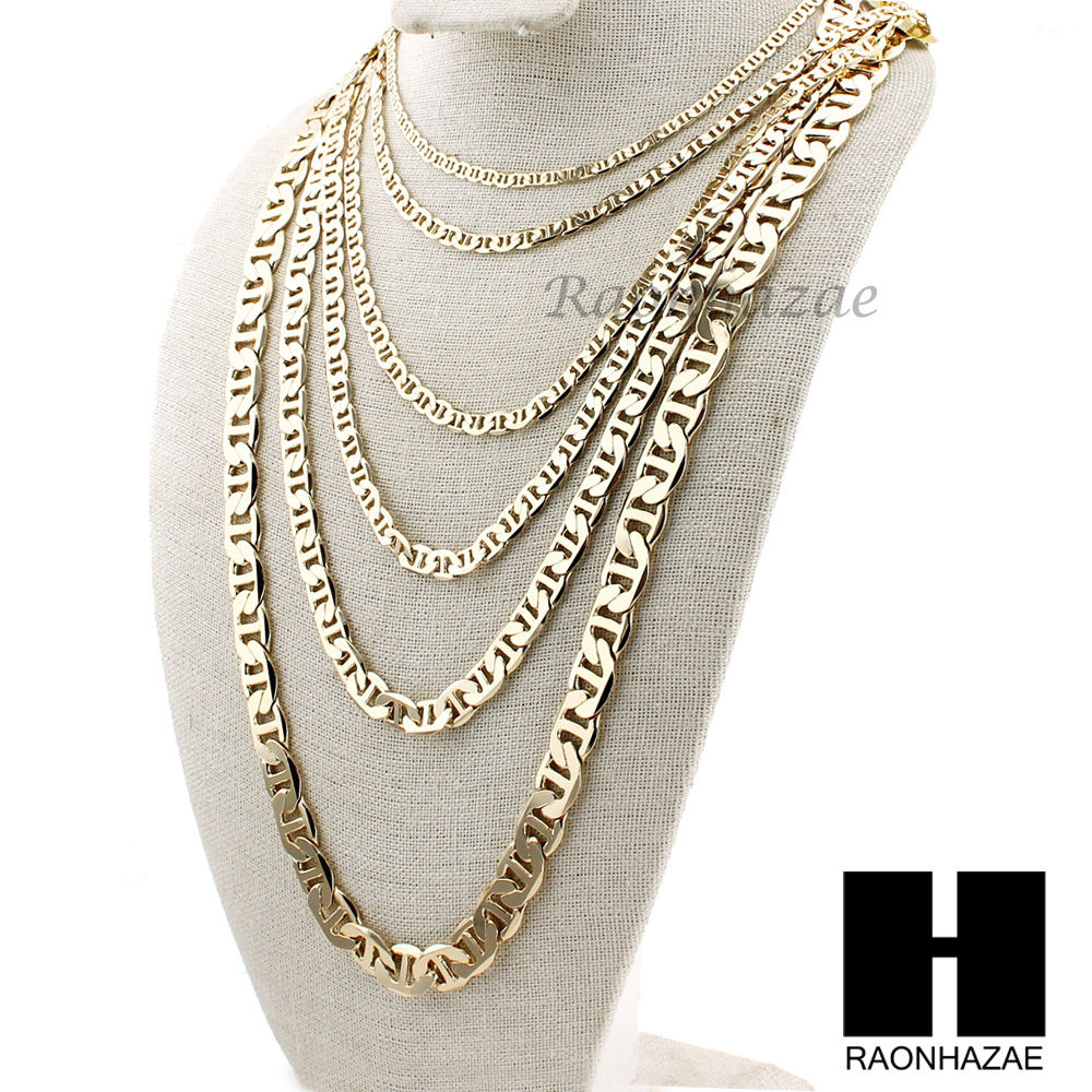 56deb81cb87 14K GOLD PLATED GUCCI LINK MARINA NECKLACE CHAIN (4-12mm)w   (8
