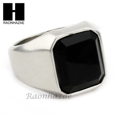 MEN STAINLESS STEEL HIP HOP SILVER TONE BLACK ONYX RING 8-12 SR031CL - Raonhazae
