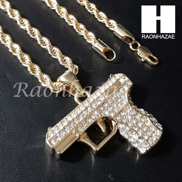 "HIP HOP HAND GUN CHAIN DIAMOND CUT 30"" CUBAN LINK CHAIN NECKLACE S078 - Raonhazae"