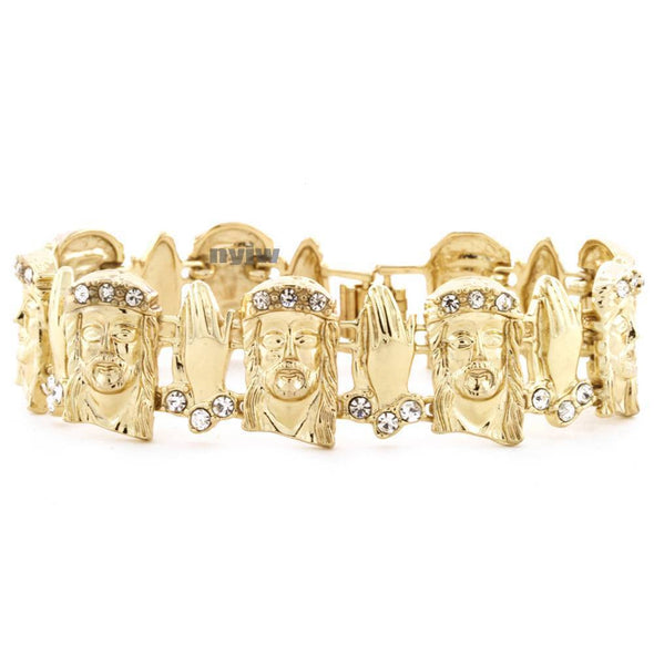 GOLD JESUS FACE PRAY HAND MICRO PAVE SIMULATED DIAMOND BRACELET KB014G - Raonhazae