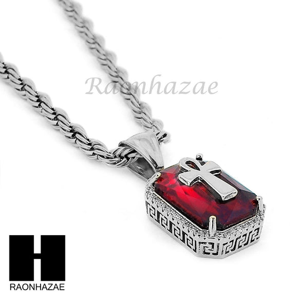 "STAINLESS STEEL RUBY ANKH CROSS PENDANT 24"" ROPE CHAIN NECKLACE NP019 - Raonhazae"