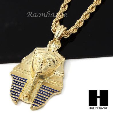 "MENS HIP HOP PHARAOH KING-TUT CZ PENDANT 24"" ROPE CHAIN NECKLACE N029 - Raonhazae"