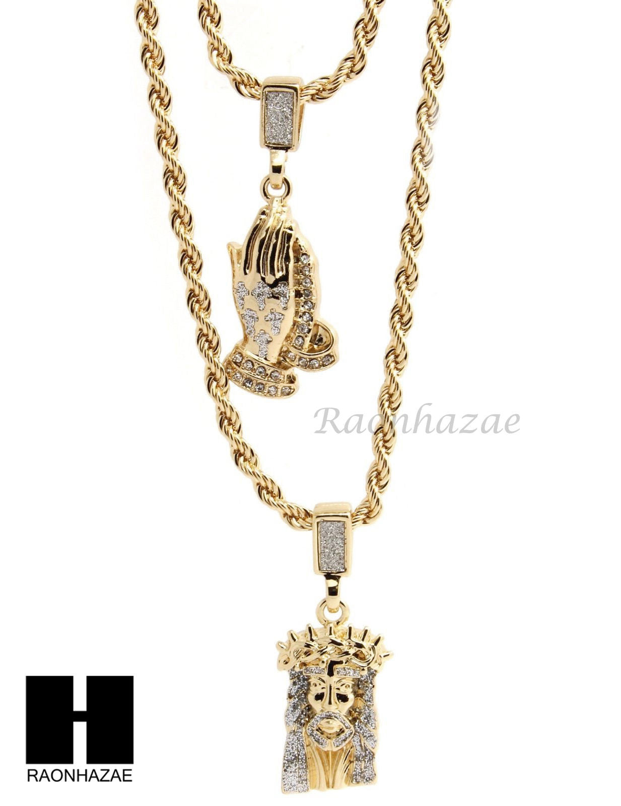 """MEN Iced JESUS FACE PRAYING HANDS 24/"""" 30/"""" ROPE CHAIN NECKLACES COMBO SET G38"""