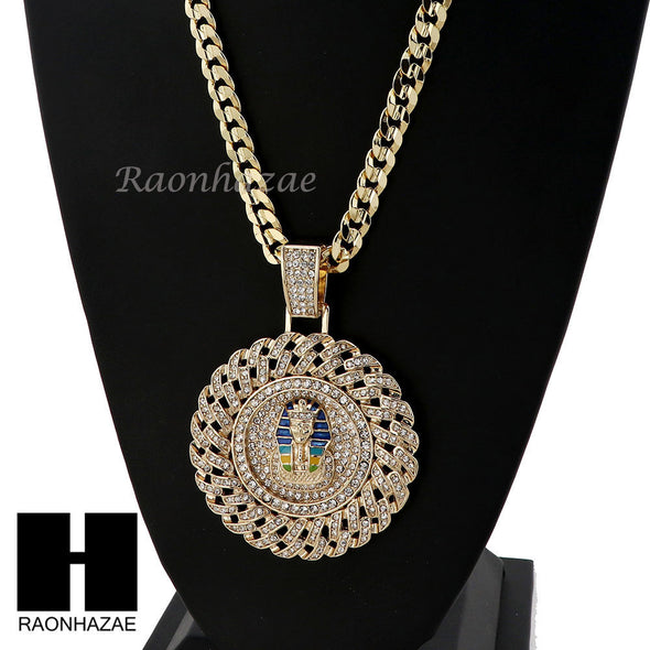L PHARAOH ROUND PENDANT & DIAMOND CUT CUBAN LINK CHAIN NECKLACE NN51 - Raonhazae