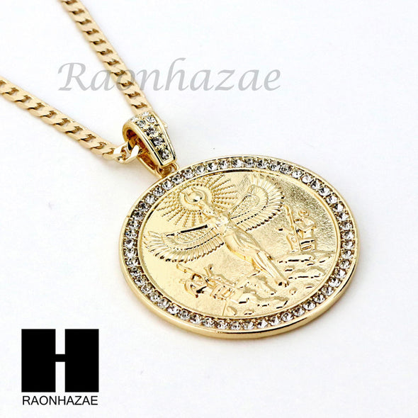 ICED OUT RUBY EGYPTIAN MAAT ROUND PENDANT CUBAN LINK ROPE CUBAN NECKLACE SET D19 - Raonhazae