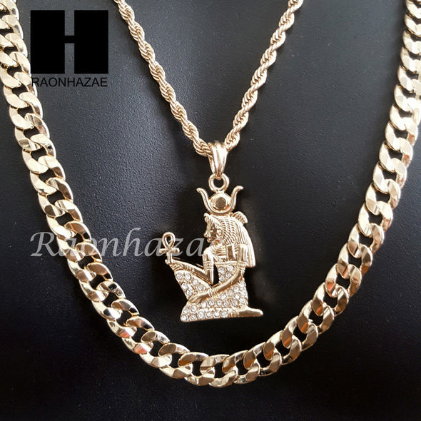 "MEN ICED OUT GOLD NEFERTITI ANKH CHARM CUT 30"" CUBAN LINK CHAIN NECKLACE S083G - Raonhazae"