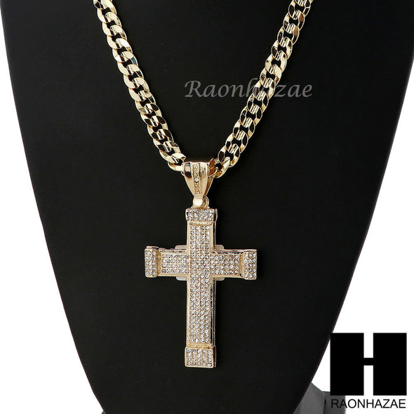 MENS LARGE CROSS PENDANT & DIAMOND CUT CUBAN LINK CHAIN NECKLACE N46 - Raonhazae