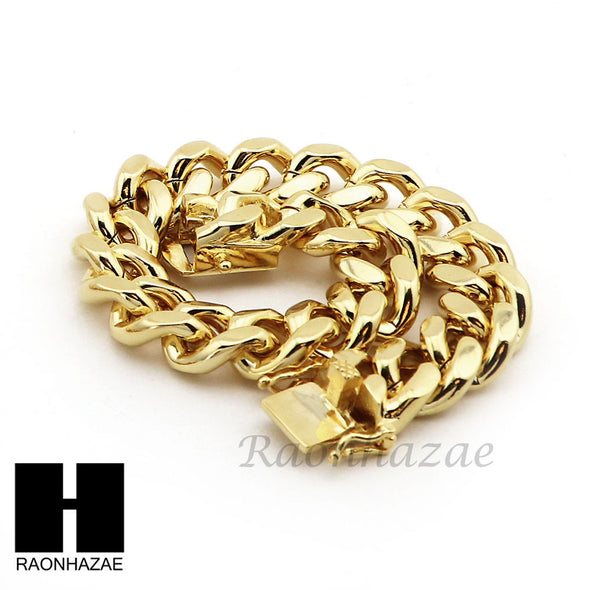 "Men 14k Gold Finish Heavy 15mm Miami Cuban Link Chain Necklace Bracelet 9"" 30"" A - Raonhazae"