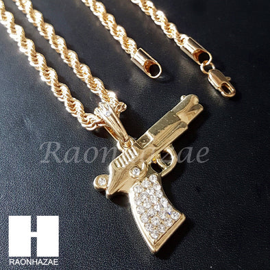 "MEN ICED OUT MACHINE GUN CHAIN DIAMOND CUT 30"" CUBAN LINK CHAIN NECKLACE S076G - Raonhazae"