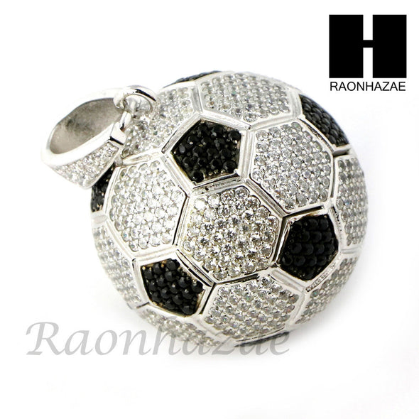 Iced Out Sterling Silver .925 AAA Lab Diamond Soccer Ball w/ ball Chain SS008 - Raonhazae