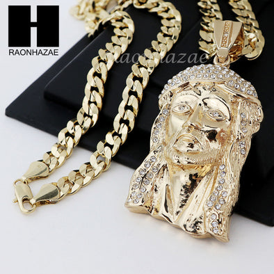 HIP HOP ICED OUT JESUS FACE PENDANT & DIAMOND CUT CUBAN LINK CHAIN NECKLACE N33 - Raonhazae