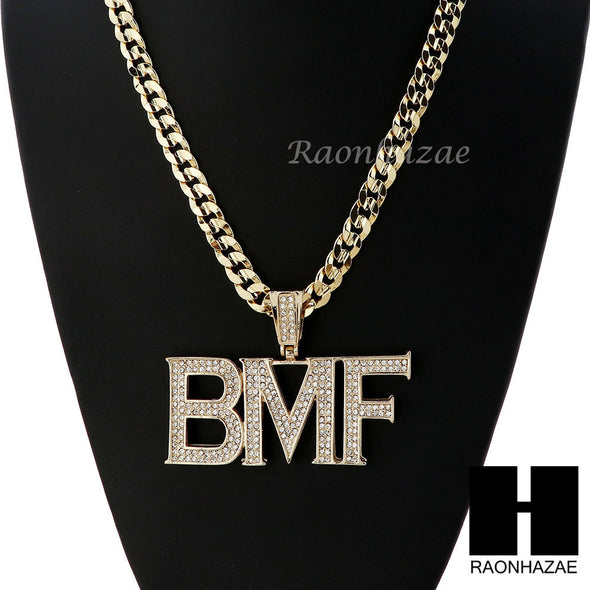 MENS HIP HOP ICED OUT BMF PENDANT & DIAMOND CUT CUBAN LINK CHAIN NECKLACE NN42 - Raonhazae