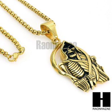 "316L STAINLESS STEEL SAINT DEATH SANTA MUERTE  GOLD PENDANT W 24"" BOX CHAIN NECKLACE 2 - Raonhazae"