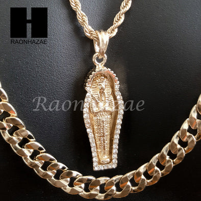"MEN ICED OUT GOLD KING TUT MUMMY CHARM CUT 30"" CUBAN LINK CHAIN NECKLACE S084G - Raonhazae"