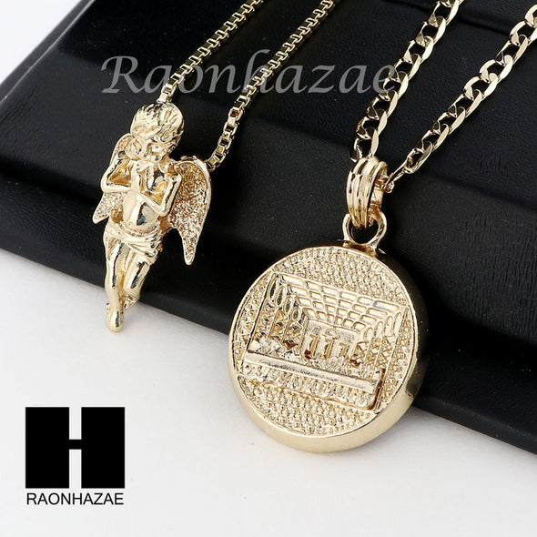 ANGEL & LAST SUPPER PENDANT BOX CUBAN CHAIN DOUBLE NECKLACE SET SD010 - Raonhazae