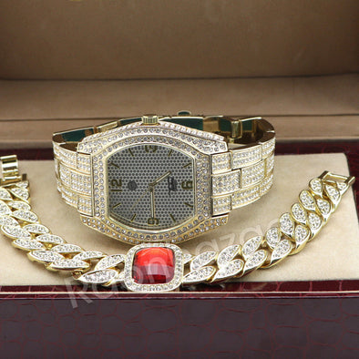 Iced Out 14K Gold PT Oval Shape Watch Ruby Cuban Chain Bling Bracelet Set F66G - Raonhazae
