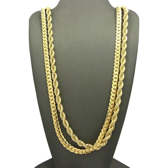 "Men 14K Gold Plated 6mm 30"" Rope & 6mm 30"" Miami Cuban Link Chain Necklace SN09 - Raonhazae"