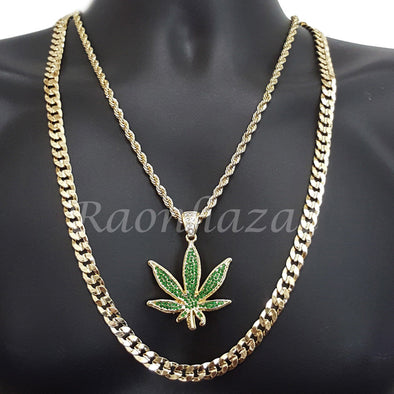 "MENS MARIJUANA CHARM ROPE CHAIN DIAMOND CUT 30"" CUBAN CHAIN NECKLACE SET G42 - Raonhazae"
