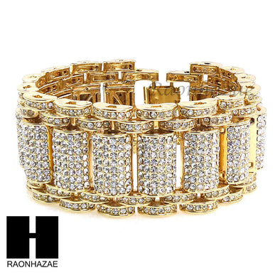 NEW ICED OUT ALL GOLD PLATED MICRO PAVE SIMULATED DIAMOND 8.5 BRACELET KB023G - Raonhazae