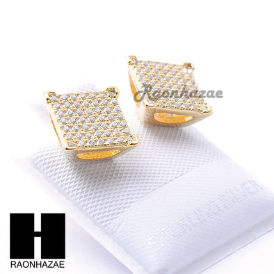 Iced Out Sterling Silver .925 Lab Diamond 9mm Square Screw Back Earring SE035G - Raonhazae