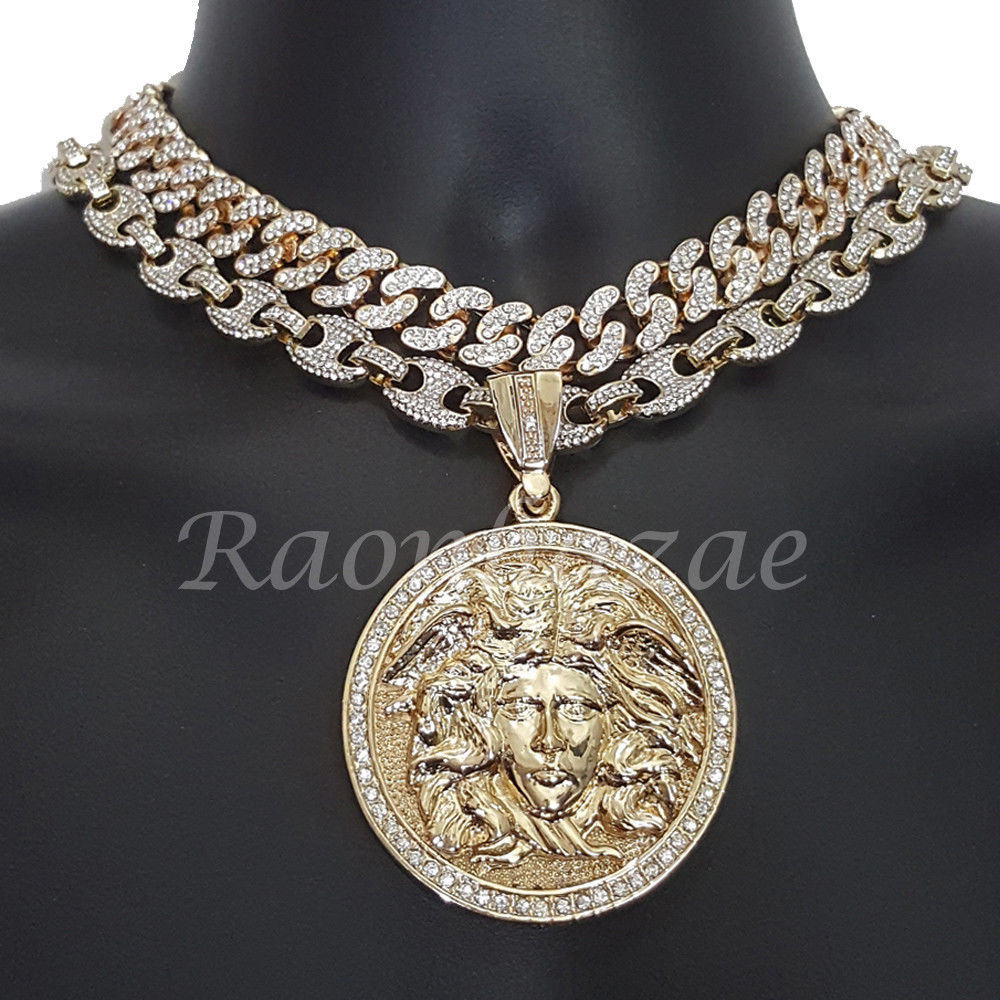 necklace pendant for new out p versace brand jewellery sale medusa iced gold
