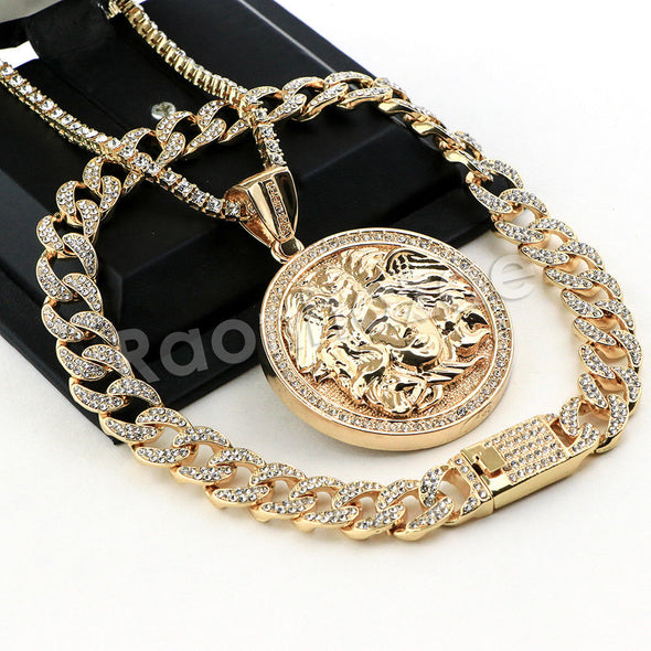 Hip Hop Quavo MEDUSA Miami Cuban Choker Tennis Chain Necklace L10 - Raonhazae