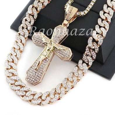"14K GOLD PT JESUS CROSS 18"" TENNIS CHAIN 16"" 30"" CHOKER CUBAN CHAIN S26 - Raonhazae"