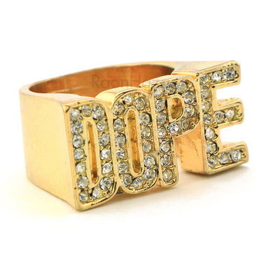"HIP HOP ICED OUT FASHION ""DOPE ENTERTAINMENT"" GOLD PLATED RING BK009G - Raonhazae"