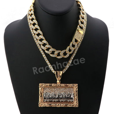Hip Hop Quavo Last Supper Miami Cuban Choker Chain Tennis Necklace L44 - Raonhazae
