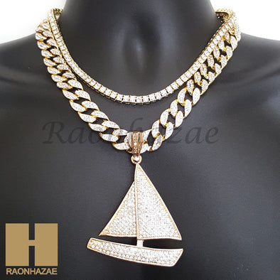 "14k Gold PT Lil Yachty QC Iced Out Miami Cuban 16""~20"" Choker Chain Necklace H01 - Raonhazae"