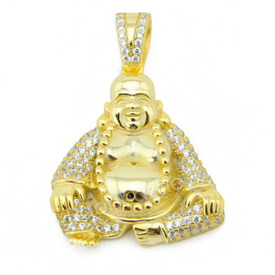 Sterling Silver .925 AAA Lab Diamond Smiling Buddha w/2.5mm Moon Cut Chain G52 - Raonhazae